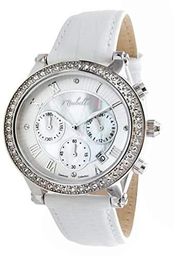 Miabelle Damen-Armbanduhr Analog Quarz Leder Weiss Diamanten Swarovski Elemente - 12-006W-A