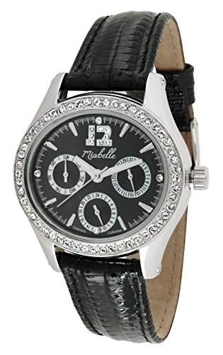 Miabelle Damen-Armbanduhr Analog Quarz Leder Schwarz Diamanten Swarovski Elemente - 12-012W-D