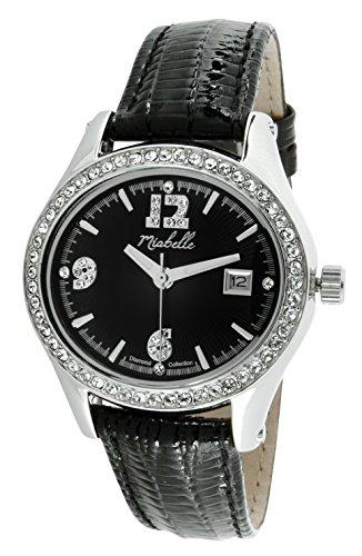 Miabelle Damen Armbanduhr Analog Quarz Leder Schwarz Diamanten Swarovski Elemente 12 012W B