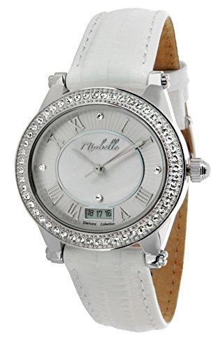 Miabelle Damen Armbanduhr Analog Quarz Leder Weiss Diamanten Swarovski Elemente 12 005W C