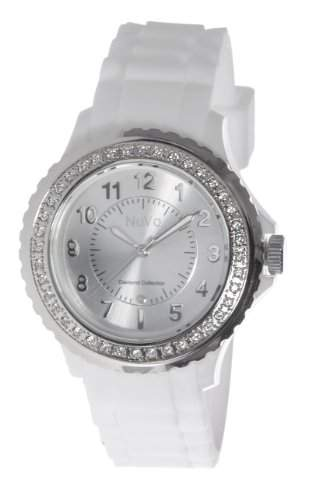 Nuvo Damen-Armbanduhr XL Eternity Analog Quarz Silikon weiss NU159