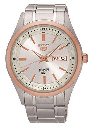 Seiko 5 automatische Uhr Edelstahl Rose Gold Ton 50M W R Made in Japan SNKN90J1