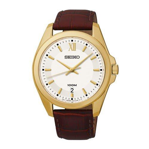 Seiko Armband Herren Armbanduhr analog Quarz Weiss Zifferblatt Leder Braun SGEG64P2