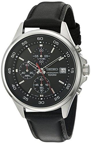 Seiko Chronograph Herren Armbanduhr Leder sks495