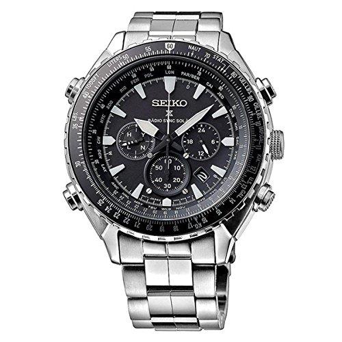 Seiko Herren Armbanduhr Chronograph Quarz Edelstahl SSG001P1