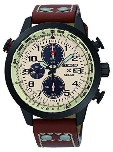 Seiko Herren Armbanduhr Prospex Chronograph Quarz Leder SSC425P1