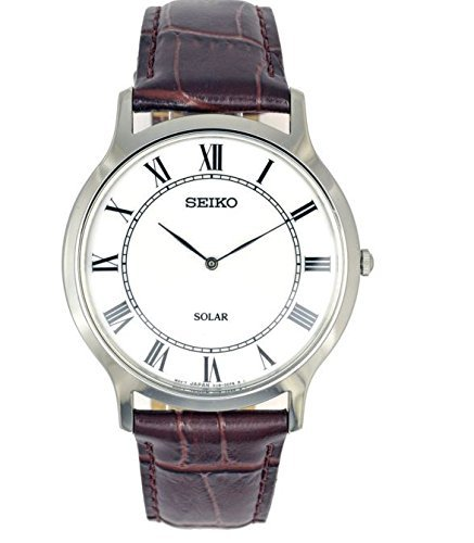 Seiko sup869p1 Herren Solar Quarz Silber Ton Edelstahl Fall Lederband 30 m WR sup869 von Seiko Uhren