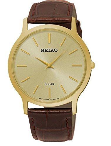Seiko sup870p1 Herren Solar Quarz Gold Ton Edelstahl Stahl Fall Lederband 30 m WR sup870 von Seiko Uhren