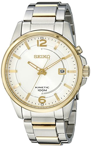 Seiko ska672 Herren Core Silber Zifferblatt zwei Ton Steel Power Reserve Kinetic Uhr
