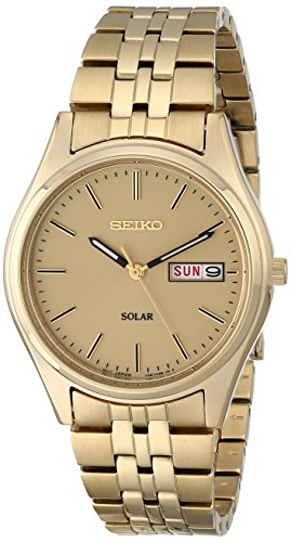 Seiko SNE036 Mens Champagne Dial Gold Tone Solar Watch
