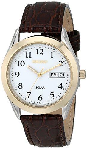 Seiko SNE056 Mens White Dial Brown Dial Solar Powered Watch