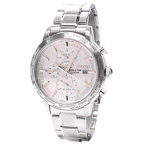Seiko spl047p1 Armbanduhr Quarz Chronograph Weisses Ziffernblatt Armband Stahl Grau