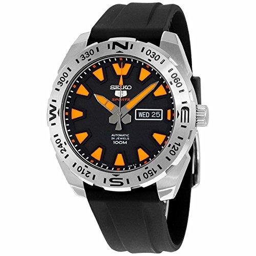 Seiko 5 Sports Maenner automatische Uhr Schwarzes Kautschukband 100M W R SRP741J1 Made in Japan