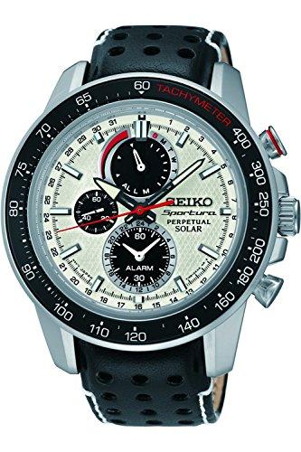 Seiko Sportura Solar Chronograph schwarz Leder 100 m Edelstahlgehaeuse SSC359