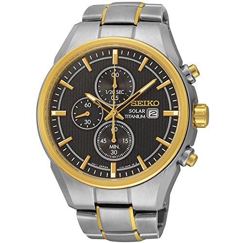 Seiko ssc392 Herren Armband Silber Band Gold und Braun Zifferblatt Armbanduhr