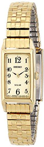 Seiko Solar SUP244 mit zwei Zeigern Edelstahl goldfarben