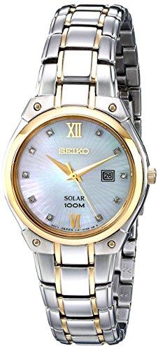 Seiko sut214 Damen Solar Core Mop Zifferblatt zwei Ton Stahl Diamant Armbanduhr