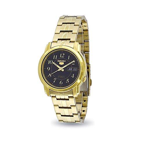 Seiko5 Automatische Herren Gold Tone Fall und Armband Armbanduhr mit schwarzem Zifferblatt snkl96 K1