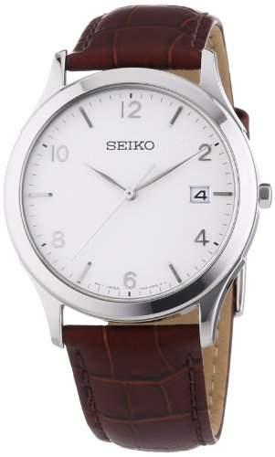 Seiko Herren-Armbanduhr XL Analog Quarz Leder SGEE09P1