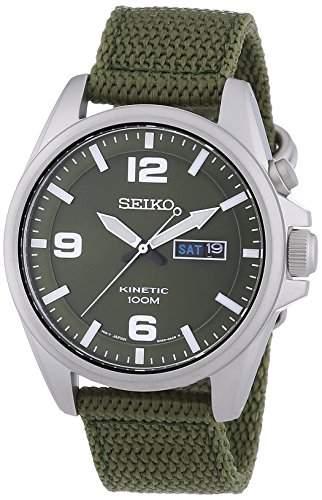 Seiko Herren-Armbanduhr Kinetic Analog Automatik Textil SMY141P1