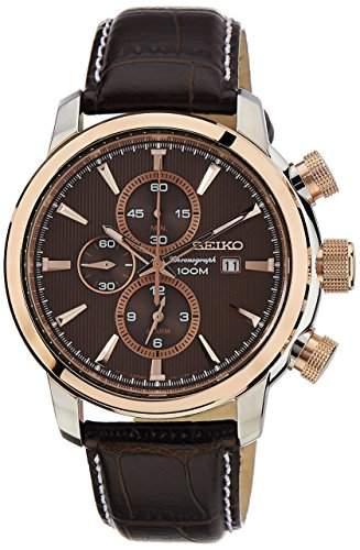 Seiko Herren-Armbanduhr Chronograph Quarz Leder SNAF52P1