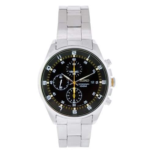 Seiko SNDC89P1-Armbanduhr Chronograph Quarz Schwarz Zifferblatt Stahl Grau