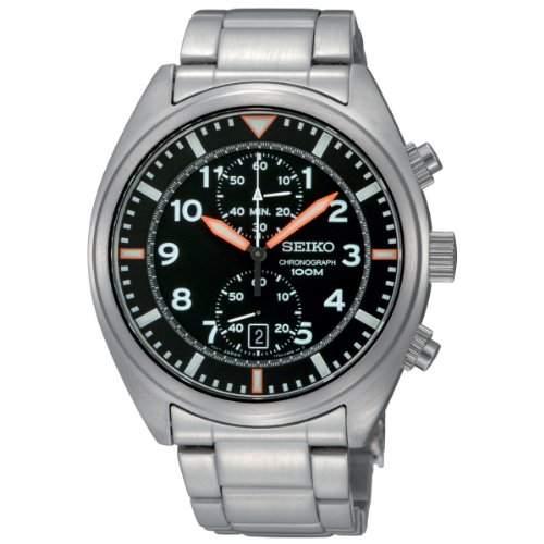 Seiko Herren-Armbanduhr Chronograph Chronograph Quarz Edelstahl SNN235P1