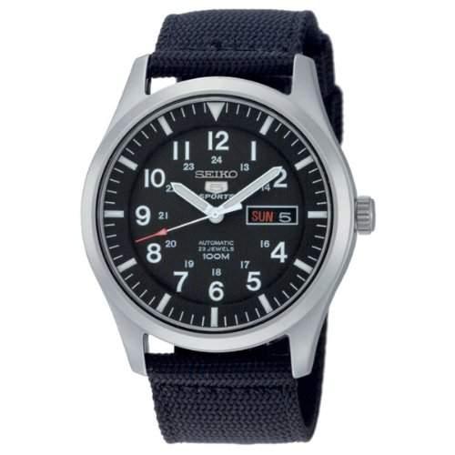 Seiko Herren-Armbanduhr Seiko 5 Sports Analog Automatik Textil SNZG15K1
