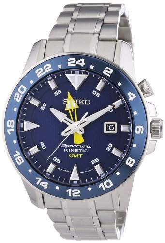 Seiko Herren-Armbanduhr XL Sportura Kinetic GMT Analog Automatik Edelstahl SUN017P1
