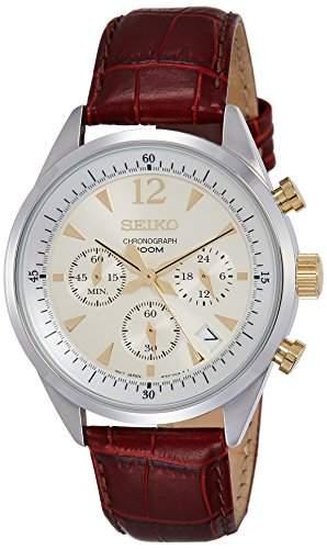 Seiko-SSB069P1-Armbanduhr-Quarz Chronograph-Ziffernblatt Gold Armband Leder braun