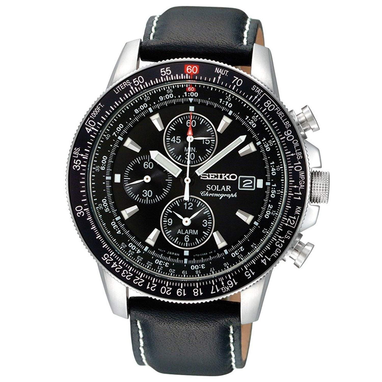 Seiko Herren-Armbanduhr XL Solar Chronograph Quarz Leder SSC009P3