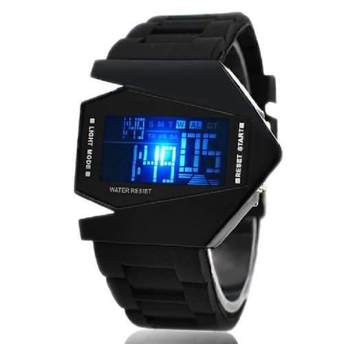 Militaer Uhr Military Fliegeruhr Digital LED Silikon Quarz Herren Armbanduhr Schwarz