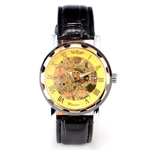 Transparent Skelett Herren Jungen Gold Leder Edelstahl Sport Mechanische Armbanduhr
