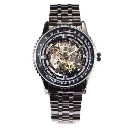 Mechanische Herrenuhr Silber Skelett Automatikuhr Schwarz Zeigerplatte Edelstahl Armband