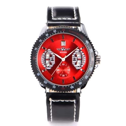 Automatik Mechanische Armbanduhr Herren Uhr Kunstleder Armband Skelett Sport rot schwarz Datum Geschenk Etui