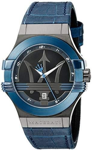 Maserati Herren-Armbanduhr XL Analog Quarz Leder R8851108007