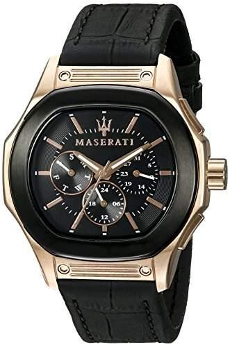 Maserati Herren-Armbanduhr XL Chronograph Quarz Leder R8851116002