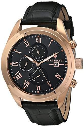 Maserati Herren-Armbanduhr XL Analog Quarz Leder R8871612002