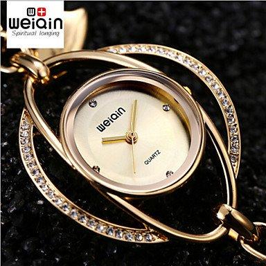FENKOO weiqin Herz Anhaenger Armreif Armband Uhren Frauen Gold Silber Strass Damen beilaeufiges Kleid Armbanduhr