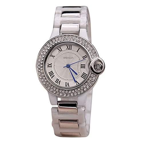 Weiqin Damen Armbanduhr blaue Zeiger Strass Analog Quarz weiss  silber jw227