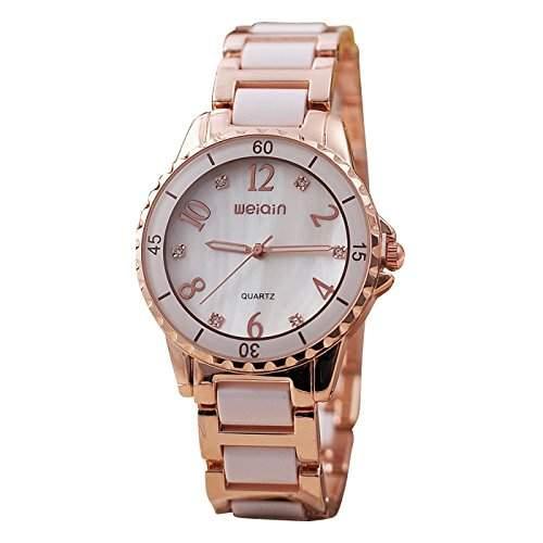 Weiqin Damen Armbanduhr Luxus Analog Quarz weiss  rosegold jw440