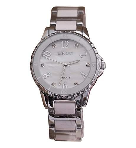Weiqin Damen Armbanduhr Luxus Analog Quarz weiss  silber jw440