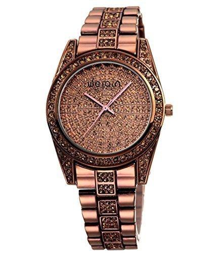 Neu Farbe Damen Elegant Kristall Element Klassischer Gold Uhr