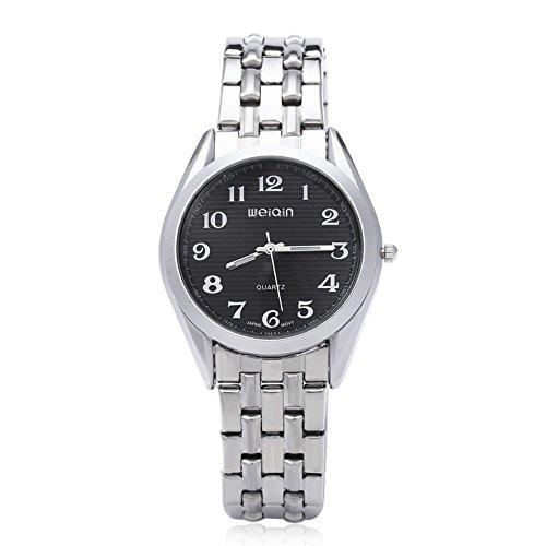 Leopard Shop WEIQIN w4368g Herren hardlexglas Glas Spiegel Business Style Edelstahl Strap Armbanduhr Schwarz