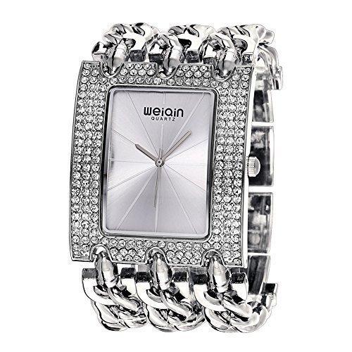 weiqin silber womens crystal l nette uhr mit strahlungsbedingten linearer index und punk kette armband 278003