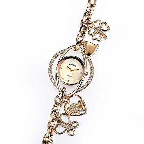 weiqin frauen d nn gold tone kette armband uhren mit rosa herz und schmetterling kleeblatt anh nger 377703