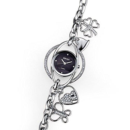 weiqin frauen d nn silberfarbenes kette armband uhren mit rosa herz und schmetterling kleeblatt anh nger 377701