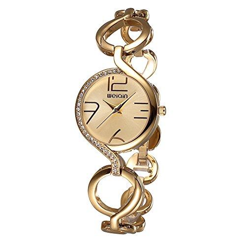 weiqin gold ton frauen armband uhr mit strass l nette und aush hlung der kette 206204