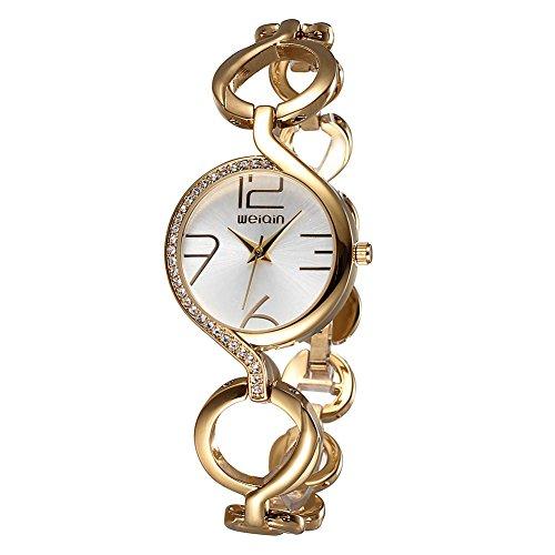weiqin gold ton frauen armband uhr mit strass l nette und aush hlung der kette 206203