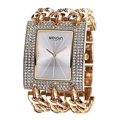 weiqin luxus uhr mit frauen l nette strahlungsbedingten linearer index und punk kette armband 278004